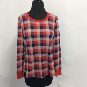 Gillian & O'Malley Medium Thermal Top Plaid R/W/B